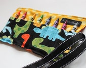 Dinosaur Crayon Roll-Dinosaur Crayon Holder-Dinosaur Party Favor-Dinosaur Easter Basket Gift-Boy Christmas Gift-Boy Birthday Gift-Boy Toy-