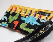 Dinosaur Crayon Roll-Dinosaur Crayon Holder-Dinosaur Party Favor-Dinosaur Easter Basket Gift-Boy Christmas Gift-Boy Birthday Gift-Boy Toy-