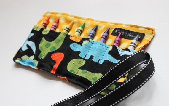 Dinosaur Crayon Roll-Dinosaur Crayon Holder-Dinosaur Party Favor-Dinosaur Stocking Stuffer-Boy Christmas Gift-Boy Birthday Gift-Boy Toy-