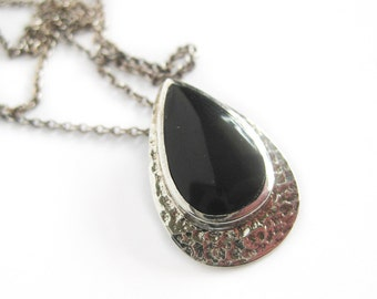 Black Onyx and Sterling Silver Pendant and Earring Set / Teardrop Setting / 925 Silver / Fine Jewelry