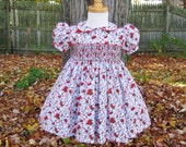 Smocked Toddler Christmas dress, size 24 Mo, Red poinsettias, white background, ready to ship, Holiday, Party dress, OOAK, Classic dress