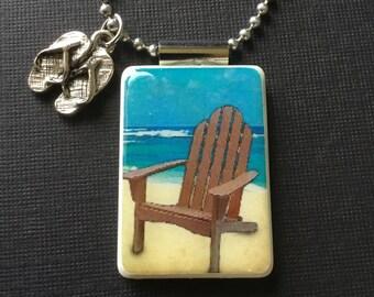Adirondack chair pendant, Adirondack jewelry, summer jewelry, flip flop charm, handmade jewelry, summertime necklace,