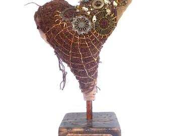 Amor II fiber art soft sculpture, eco-friendly, bead embroidery, home decor, textile art, fiber collage, self standing art object