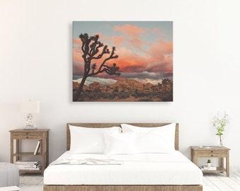 Joshua Tree canvas wrap, desert decor, ready to hang, sunset photo, California wall art, desert photography, large wall decor