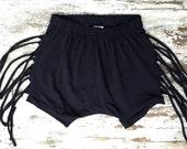 Fringe Shorts-Black