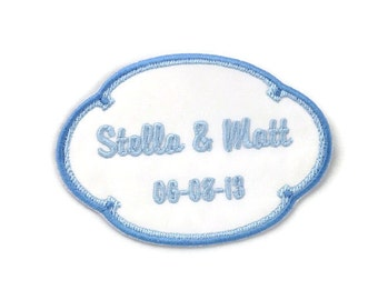 Wedding Dress Label.  Wedding Dress Labels. Wedding Dress Patch. Something Blue Wedding Patch. Two Tone
