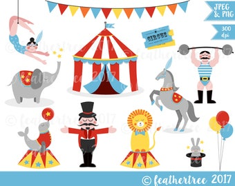 Circus Digital Clipart - Big Top, Trapeze, Strongman, Lion, Seal, Elephant etc - 300 dpi JPEG and PNG files - Instant Download