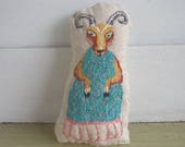 Auntie Goat, Small, Hand Embroidered Doll, Plush, Decoration, Animal, Blue Dress, Farm Animal, Art, Nanny Goat