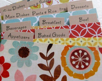 Set of 12 - 3 by 5 inch  Recipe  Dividers..Ready to Ship