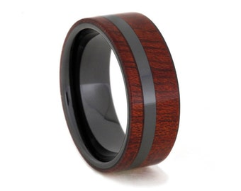 Spectacular Bloodwood Ring with Distinctive Black Ceramic Sleeve and Pinstripe, Ring Armor Included
