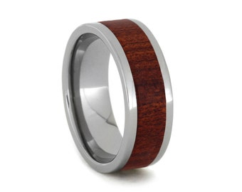 Blood Wood Ring, Titanium Ring, Wooden Wedding Band, Ring Armor Included