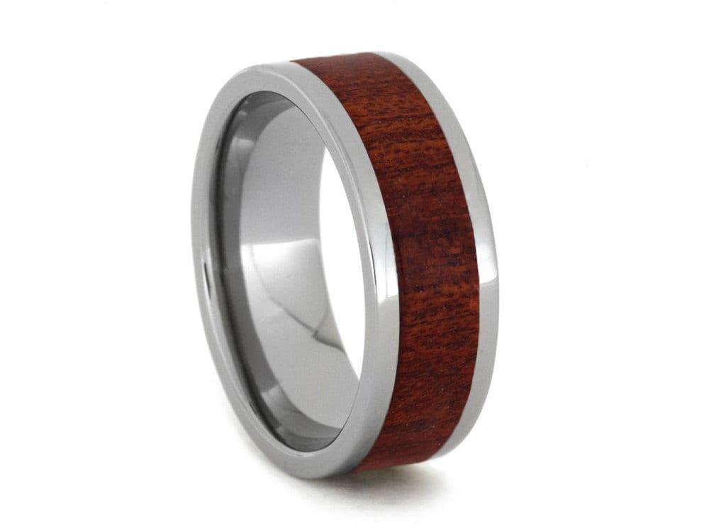 Blood Wood Ring Titanium Ring Wooden Wedding Band Ring
