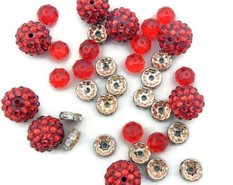 Set of Mixed Beads Red and Gold-tone Rhinestone Rondelles