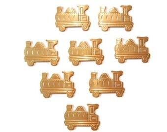 8 Large Fun Brass Train Stamping
