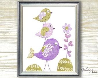 Bird Nursery Decor baby nursery print - kids art - kids room decor - nursery wall art - bird nursery - Purple - Tendresse print