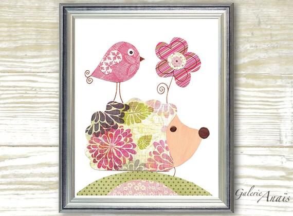 baby girl nursery decor nursery wall art print kids art decor baby art hedgehog nursery Bird - Madame Herisson