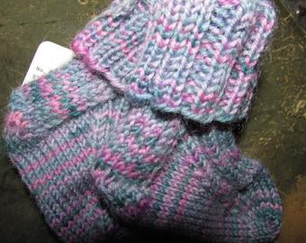 Hand Knit Wool Baby Socks; Pink, Teal, Lavender, Blue