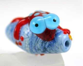 Handmade Lampwork Bead, Red Lizard, Blue Bicone, Pendant Bead, Animal Glass Bead, Artisan Glass, Donna Trull, SRA
