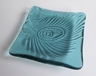 Light Aqua Fused Glass Peacock Feather Imprint Plate