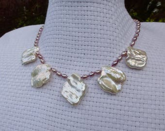 Bold Chic Petal Pearl Bib Necklace White Rainbow Freshwater Sterling Silver Orbit Clasp Hand Knotted in USA Beachy Wedding Iridescent
