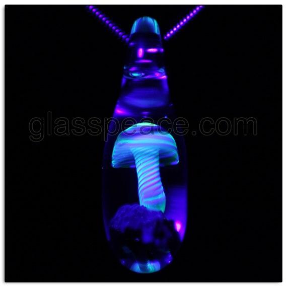UV Blacklight Reactive Glass Mushroom Pendant - Glass Peace glass jewelry (6552)