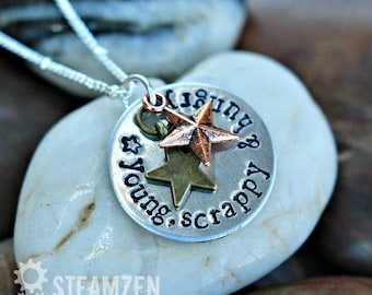 Hamilton Young, Scrappy and Hungry Necklace - Hamilton Fan - Hamilfan Gift