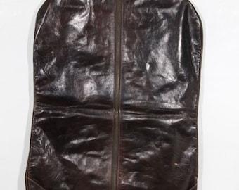 VINTAGE Brown Leather GARMENT BAG Suit Carrier cover case suiter travel