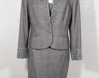 PARADISE Italian VINTAGE Gray Glen Pattern SUIT Blazer Top and Skirt set sz 2 is