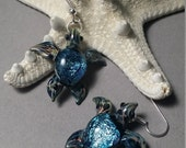 Turquoise Diver Sea Turtle Earrings