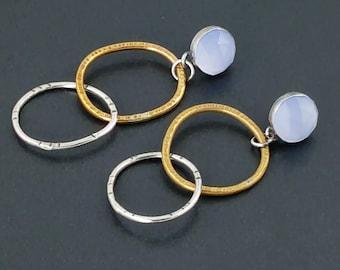 Chalcedony Earrings, rose cut blue chalcedony, hoop earrings, blue stone earrings, mixed metal earrings, sterling silver, post earrings
