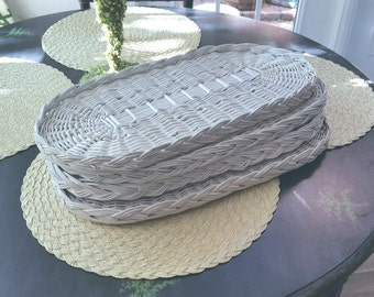 4 vintage white wicker trays,individual serving tray