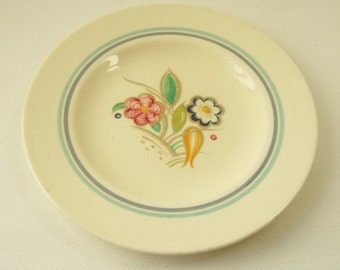 1930s Vintage Susie Cooper Plate with Nosegay Pattern - Small Teaplate with Art Deco Floral Design