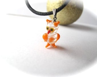 Orange and White Owl Pendant
