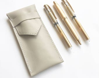Leather Pencil Pouch - Light Gray
