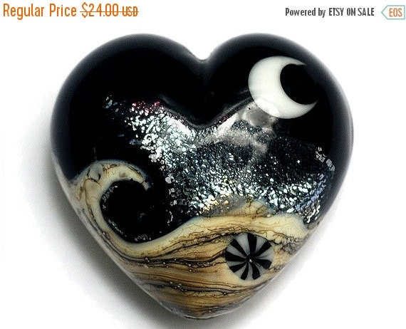 ON SALE 45% OFF Sable Celestial Heart (Large) - Handmade Glass Lampwork Beads 11832825