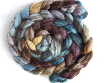 Mixed BFL Wool Roving, Hand Painted Spinning or Felting Fiber, 4 ounces, Lost in the Rain
