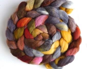 Falkland Wool Roving - Hand Dyed Spinning or Felting Fiber Fiber, Mushrooms on a Stump, 4 ounces