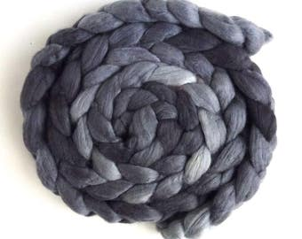 Merino/ Silk Roving (Top) - Handpainted Spinning or Felting Fiber, Grey
