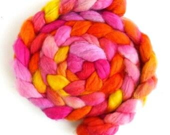 Superwash BFL Wool Roving - Hand Painted Spinning or Felting Fiber, Sweet Joy
