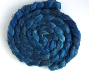 Pre-Order Colorway, Blueface Leicester/ Tussah Silk Roving (Top) - Handpainted Spinning or Felting Fiber, Iron Blue