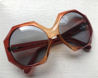 70's French NOS Made in France Octagon 8 Sided Sunglasses Eyewear Eyeglass Frames Amberina End of Day Orange Red Ombre Oversized Big Huge