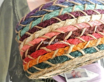1 Yard Extra Thick Wide Beige Red Green Blue Rustic Country Wedding Party Burlap Braided Linen Hemp Jute Ribbon Trim 3.1 Inches / 8 cm