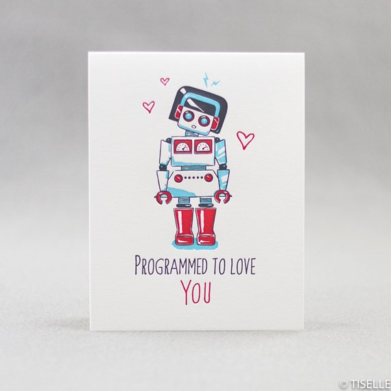 Letterpress Love Card, Robot Love