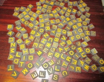 Lot of 160 Vintage Wooden  Black Wood Yellow Letters Anagram Tiles