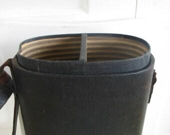 Vintage Picnic Wine Carrier, Black Drink Carrier, Picnic Tote, Black Leather Case, Wine Case, Leather Wine Carrier, Black Case, Leather Tote
