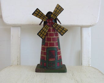 RESERVED.......Vintage Tin Toy, Tin Windmill, Holland Toy, Metal Toy, Metal Windmill, Vintage Windmill, Railroad Display