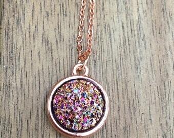 Druzy Necklace, rose gold necklace, rose gold druzy, Faux Druzy Necklace, Druzy Pendant, Boho Jewelry, Druzy Necklace