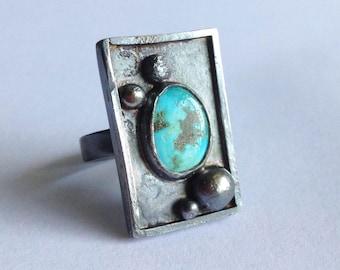 Old Stock Turquoise Shadowbox Ring - Size 8