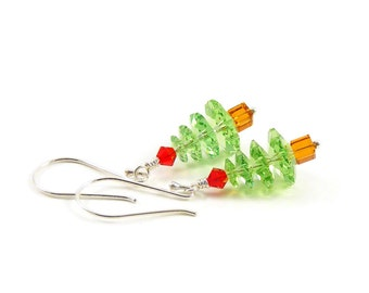 Green Christmas Tree Earrings, Swarovski Crystal & Sterling Silver Jewellery, Festive Xmas Trees, Jewellery Stocking Fillers Gifts for Her
