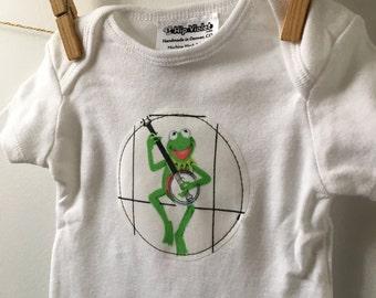 Kermit Baby Gift - Vintage Kermit Bodysuit - Muppets Baby Shower - Gender Neutral Bodysuit - Available in size newborn, 3m, 6m, 9m and 12m.